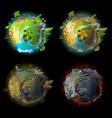 cartoon planet evolution game design set vector image vector image