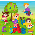 children on grass reading book vector image vector image