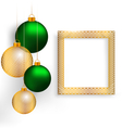 Christmas balls with frame on grayscale vector image vector image