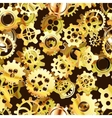 Clockwork mechanism seamless pattern with golden vector image
