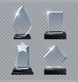 crystal glass blank trophy awards isolated vector image vector image