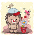 cute cartoon hedgehog with flower vector image vector image