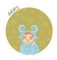 cute zodiac sign - aries vector image vector image