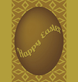 Dark gold egg easter card on shuriken pattern vector image vector image