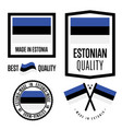 estonia quality label set for goods vector image vector image