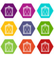 fairy window frame icons set 9 vector image vector image