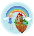 fairy with castle on floating island vector image
