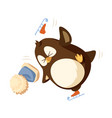 falling penguin with furry hat isolated vector image
