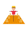 farm scarecrow with wheat crop vector image