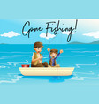 father and son fishing with words gone fishing vector image vector image