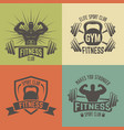 fitness sport club vintage emblems vector image vector image