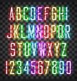 glowing multi colors neon casual script font vector image vector image