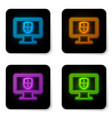 glowing neon computer monitor and shield icon vector image vector image