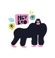 gorilla hand drawn poster vector image vector image
