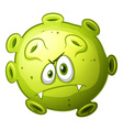 Green bacteria with evil face vector image