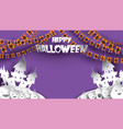 halloween background with pumpkin haunted house vector image