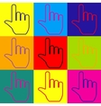 Hand sign Pop-art style icons set vector image
