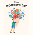 happy mothers day boy with vector image