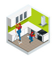 isometric assembly of kitchen of furniture in the vector image vector image