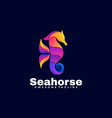 logo seahorse gradient colorful style vector image