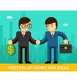 Meeting of money and ideas Two businessmen vector image vector image