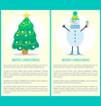 merry christmas posters with tree and snowman set vector image vector image