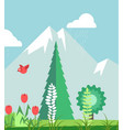 mountains in summer time with plants graphic vector image