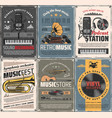 music and sound recording retro posters vector image vector image