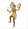 native american indian man in traditional costume vector image vector image