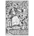 necromancer engraved fantasy vector image vector image