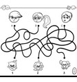 paths maze with kids and pets coloring book vector image vector image
