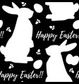 seamless monochrome pattern with rabbits easter vector image