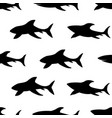 seamless pattern with silhouettes of sharks vector image