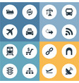 set of simple city icons vector image vector image