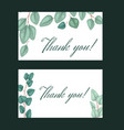 set thank you card with flat eucalyptus and vector image vector image