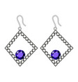 silver earrings mockup realistic style vector image vector image