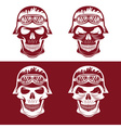 skull in helmet set biker theme design template vector image