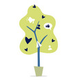 social media green tree with likes and users vector image