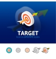 Target icon in different style vector image