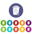 trash wheelie bin icons set color vector image vector image