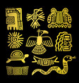 tribal indian golden symbols vector image