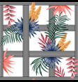 tropical plants stripe black white background vector image vector image