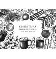 vintage christmas banner design hand-sketched vector image