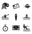 water skiing icons set simple style vector image vector image