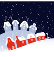 Winter Christmas snowing night village vector image vector image