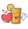 with heart orange juice mascot cartoon vector image vector image