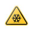 yellow snow flake warning sign vector image vector image