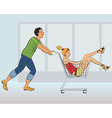 Young couple having fun in a store vector image