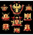 Heraldic labels gold red vector image
