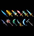 cartoon weapon icons set vector image